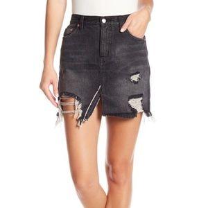 NWT Free People Black Distressed Denim Mini Skirt